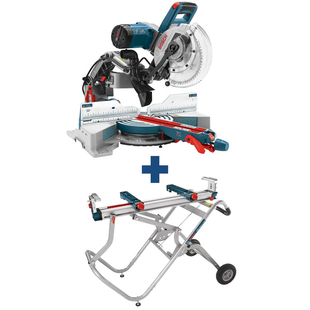 Bosch 15 Amp Corded 10 in. Dual-Bevel Sliding Glide Miter Saw with 60-Tooth Saw Blade and Bonus Gravity Rise Stand with Wheels