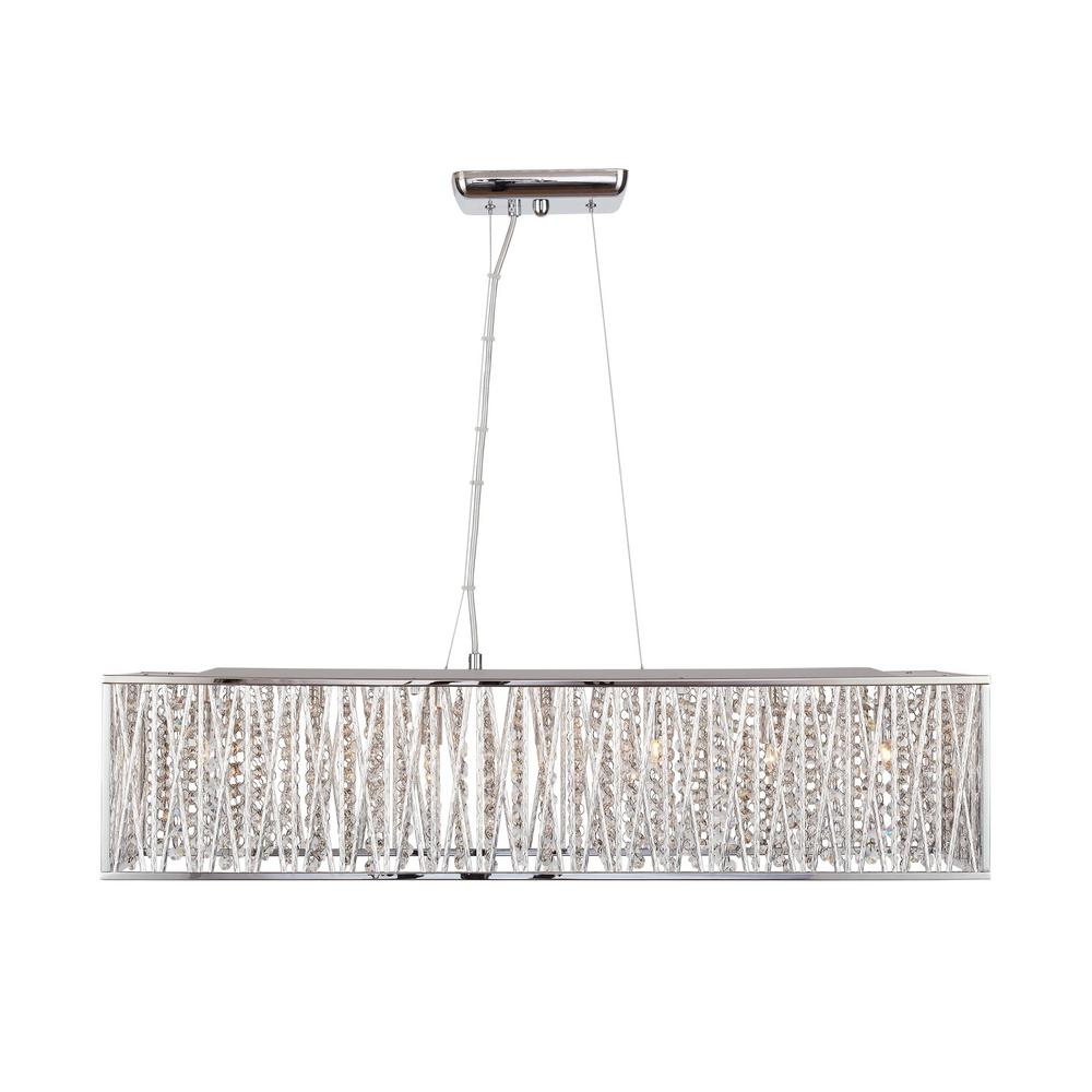 buy popular 671eb fb018 Home Decorators Collection Saynsberry 7-Light Chrome Island Chandelier with  Woven Laser Cut Crystal Rectangular Shade