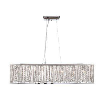 Saynsberry 7-Light Chrome Island Chandelier with Woven Laser Cut Crystal Rectangular Shade