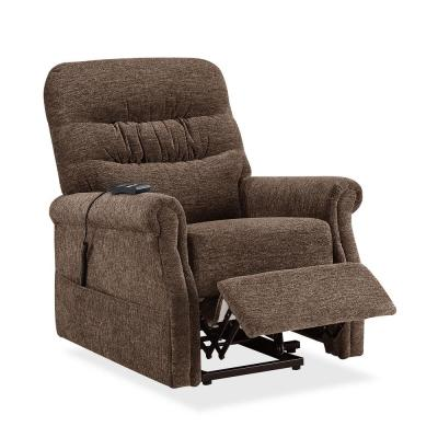 Brown Power Lift Recliner with Soft Fabric Upholstery and Remote