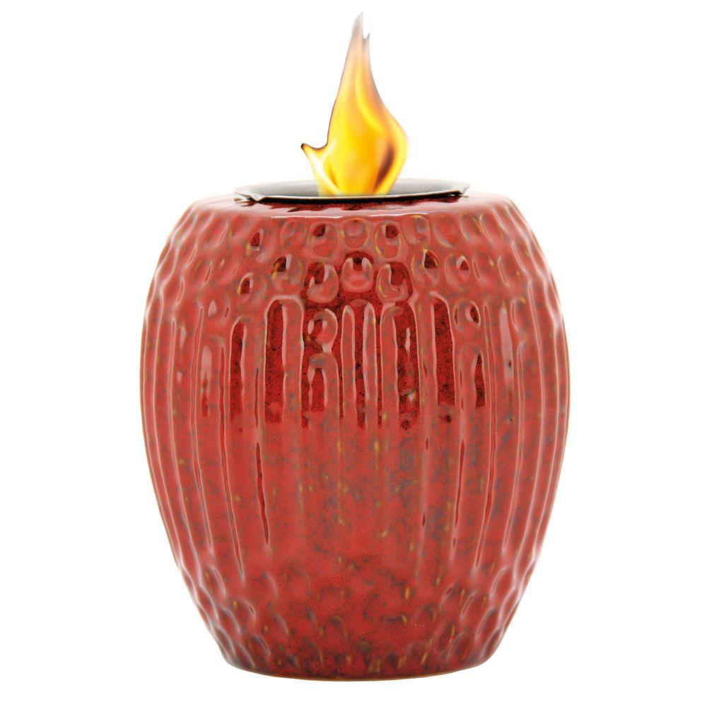 Pacific Decor Ribbed Fire Pot in Ruby Red
