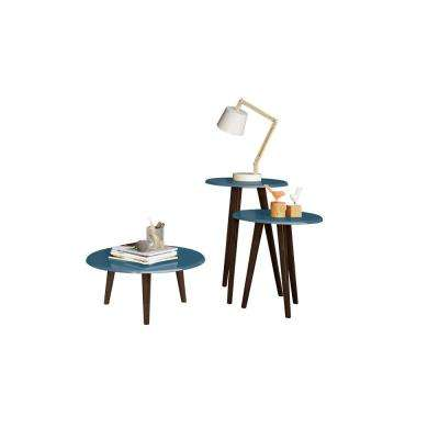 Carmine Mid Century Modern Aqua Blue End Tables with Solid Wood Splayed Legs (Set of 3)