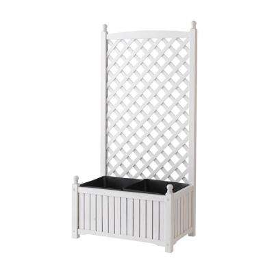 Lexington 28 in. x 16 in. White Wood Planter with Trellis