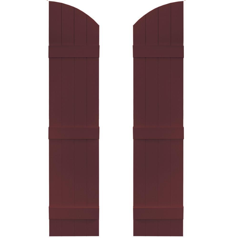 14 in. x 61 in. Board-N-Batten Shutters Pair, 4 Boards Joined with Arch Top #167 Bordeaux
