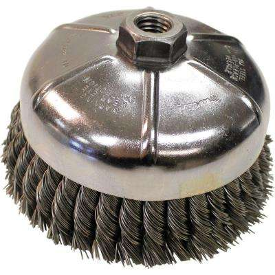 "6 in. Knot Wire Cup Brush, 5/8""‑11 arbor for use with Angle Grinders"