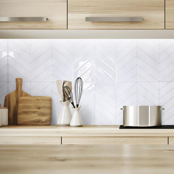 Smart Tiles Blok Chevron 22 56 In W X 11 58 In H White Peel And Stick Self Adhesive Mosaic Wall Tile Backsplash 2 Pack Sm1179g 02 Qg The Home Depot