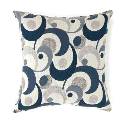 Swoosh 22 in. Contemporary Standard Throw Pillow in Blue