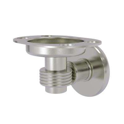 Continental Collection Tumbler and Toothbrush Holder with Groovy Accents in Satin Nickel