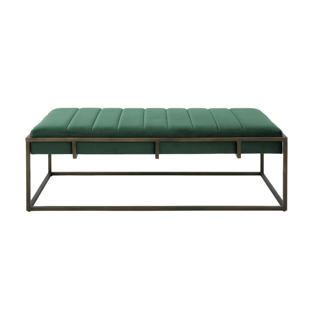Enjoyable Noble House Magdalene Emerald Velvet Ottoman Bench With Alphanode Cool Chair Designs And Ideas Alphanodeonline