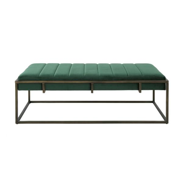 Noble House Magdalene Emerald Velvet Ottoman Bench with Brushed Gold Metal