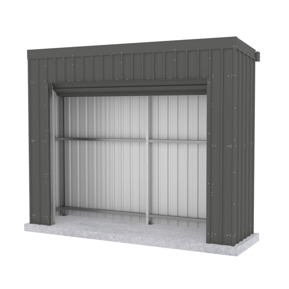 ABSCO Fortress 9.8 ft. x 2.5 ft. x 7.8 ft. Woodland Gray Metal Shed
