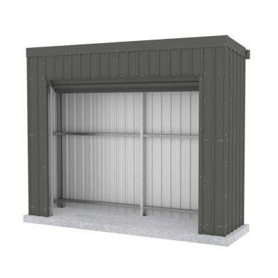 Fortress 9.8 ft. x 2.5 ft. x 7.8 ft. Woodland Gray Metal Shed