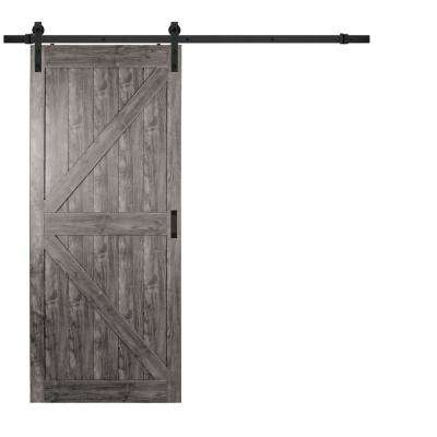 36 in. x 84 in. Iron Age Grey K Design Solid Core Interior Composite Barn Door with Rustic Hardware Kit