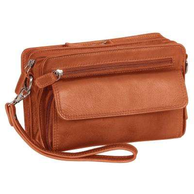 Deluxe 9 in. Cognac Unisex Bag