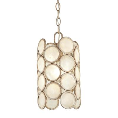 1-Light Champagne Silver Capiz Shell Mini Pendant