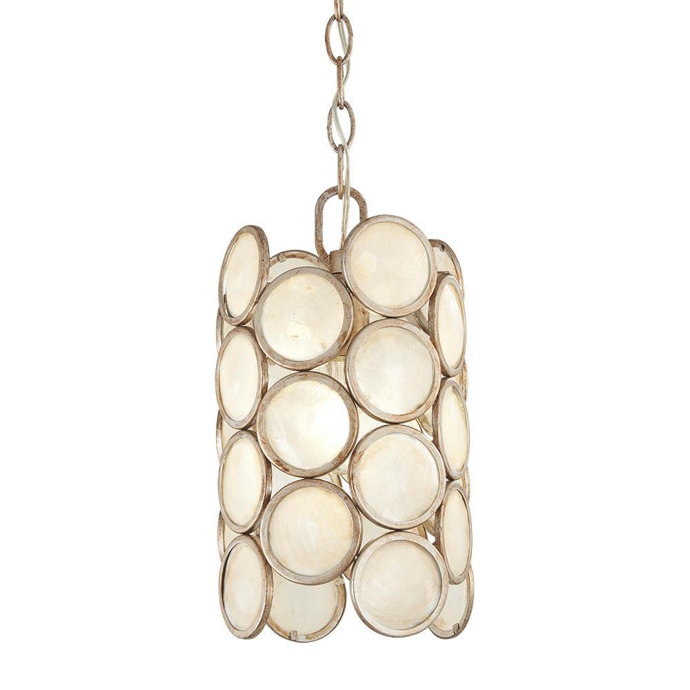 1-Light Champagne Silver Capiz Shell Mini Pendant