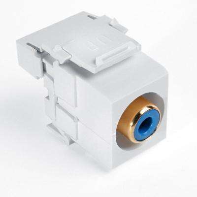 QuickPort RCA 110-Type Connector with Blue Barrel, White