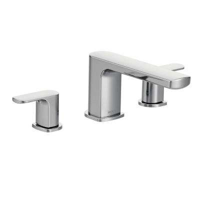 Rizon 2-Handle Deck-Mount Roman Tub Faucet Trim Kit in Chrome (Valve Not Included)