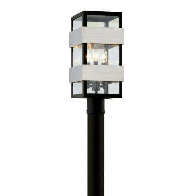 Dana Point 3-Light Textured Black 18 in. H Outdoor Post Light with Clear Glass