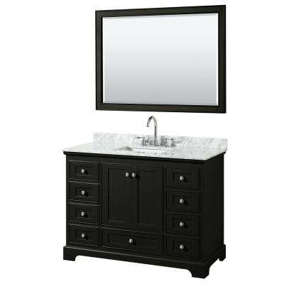 Deborah 48 in. Single Vanity in Dark Espresso with Marble Vanity Top in White Carrara with White Basin and 46 in. Mirror