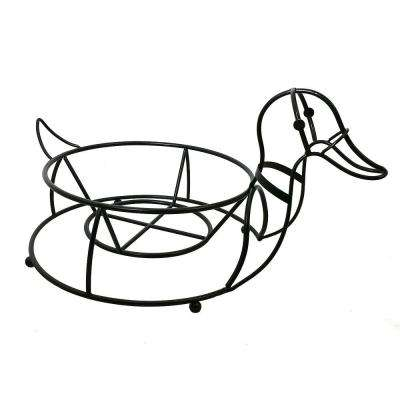 Garden Companions 12 in. x 9 in. Black Steel Duck Planter