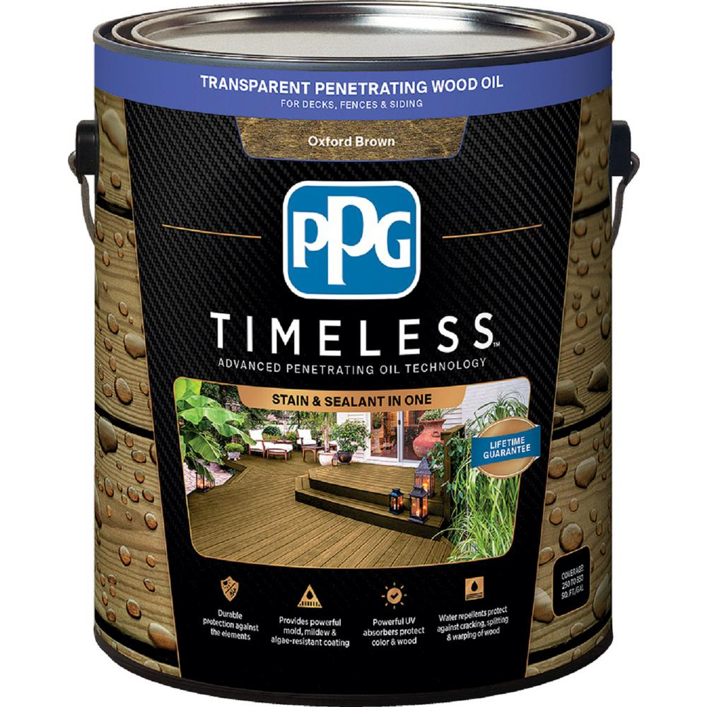 Exterior White Stain For Wood: PPG TIMELESS 1 Gal. TPO-14 Oxford Brown Transparent