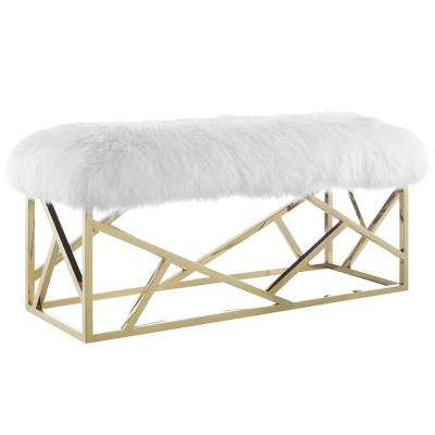 Gold White Intersperse Sheepskin Bench