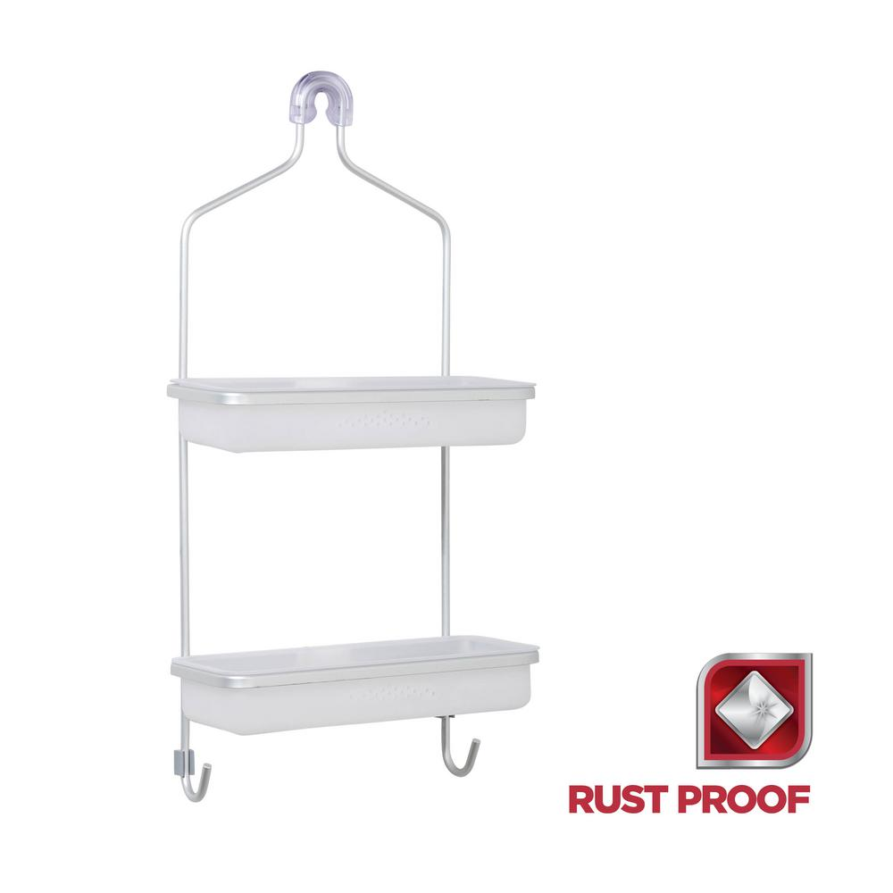 Rustproof Over-the-Shower Caddy with Removable Baskets in Satin Chrome and
