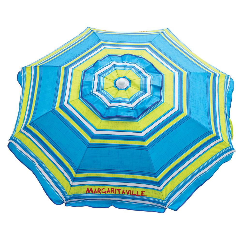 Margaritaville 6 ft. 20 Panel Market Beach Umbrella in Multi-Color with Integrated Sand Anchor