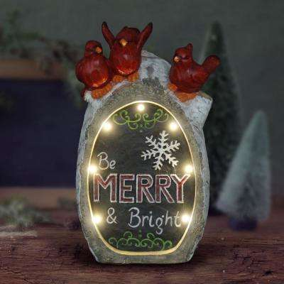 16 in. Battery Operated Christmas Be Merry and Bright Statue with Timer