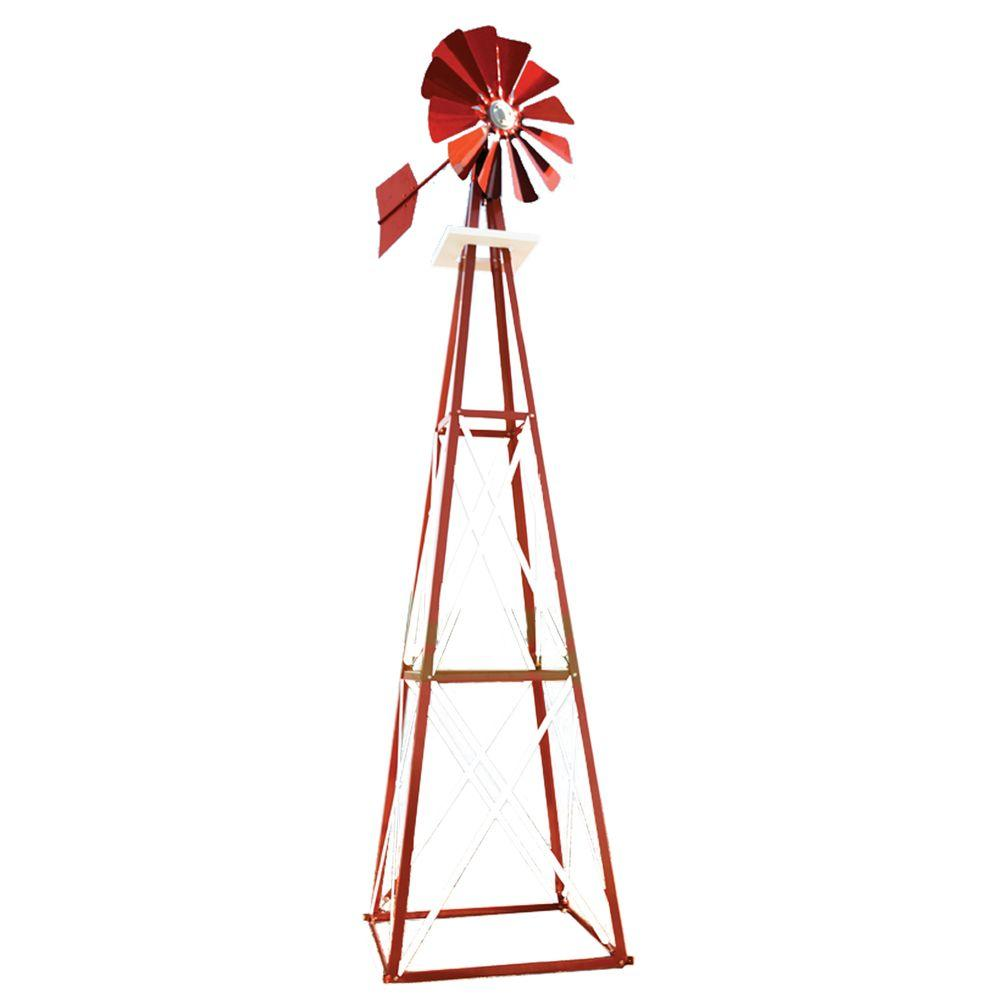 Large Red and White Powder Coated Backyard Windmill