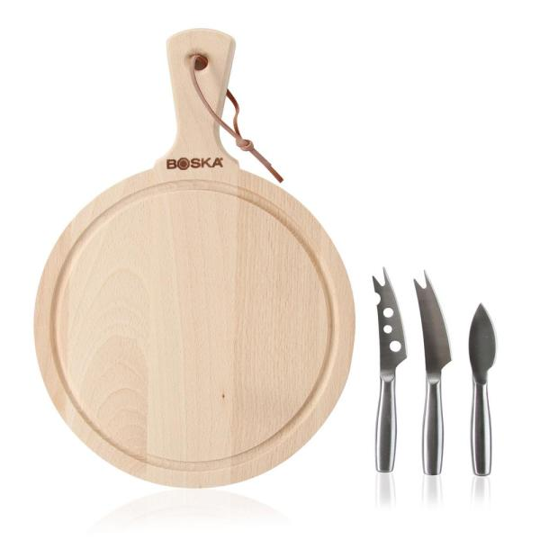 Boska Amigo 3 Piece Beechwood Cheese Board And Stainless Knife Set 358204 The Home Depot