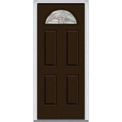 30 in. x 80 in. Master Nouveau Right-Hand 1/4-Lite Decorative 4-Panel Painted Fiberglass Smooth Prehung Front Door