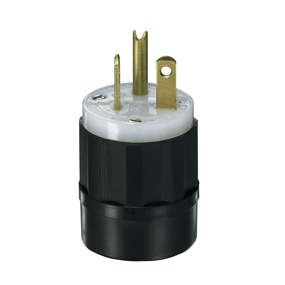 leviton 20 amp 250 volt straight blade grounding plug black white rh homedepot com