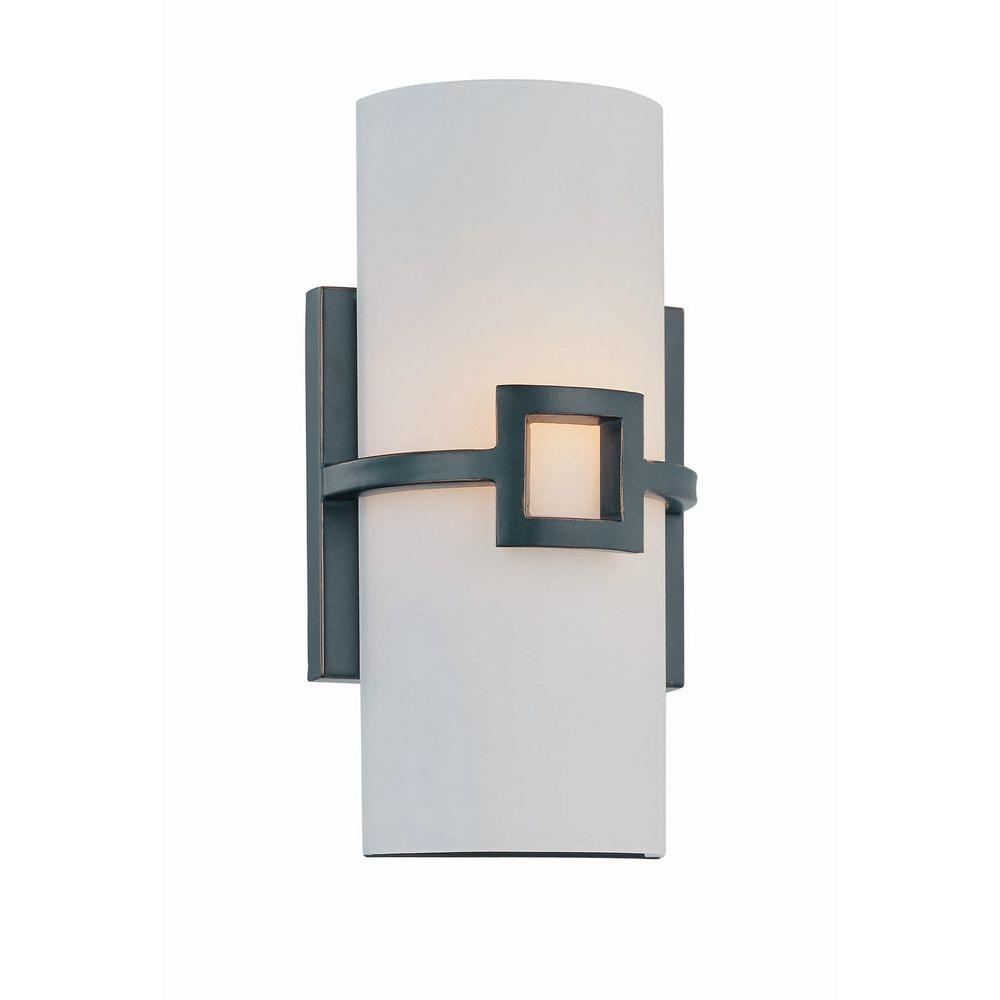 Retta 1-Light Bronze Sconce with Frosted Glass