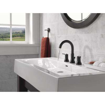 Trinsic 8 in. Widespread 2-Handle Bathroom Faucet with Metal Drain Assembly in Matte Black
