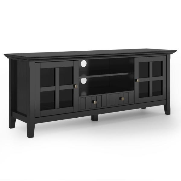 Brunswick in Black Solid Wood 60 in. Wide Rustic TV Media Stand For TVs up to 65 in.