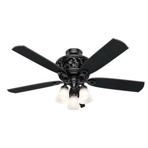 Promenade 54 in. LED Indoor Gloss Black Ceiling Fan with Light Kit and Remote