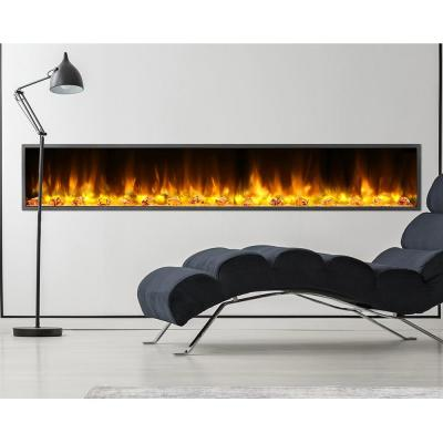 80 in. Harmony Built-in LED Electric Fireplace in Black Trim