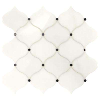 Premier Accents Cotton Arabesque 12 in. x 13 in. x 10 mm Stone Mosaic Tile