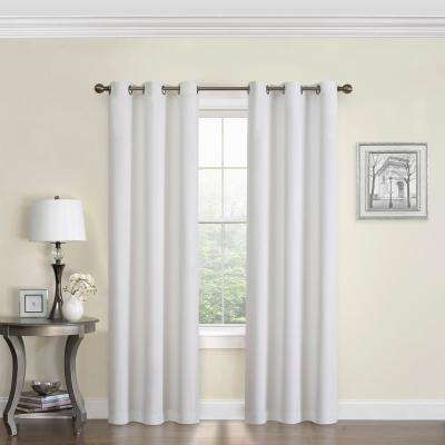 Blackout Microfiber 95 in. L White Grommet Curtain