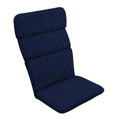 20 in. x 28.5 in. Navy Woven Stripe Outdoor Adirondack Chair Cushion