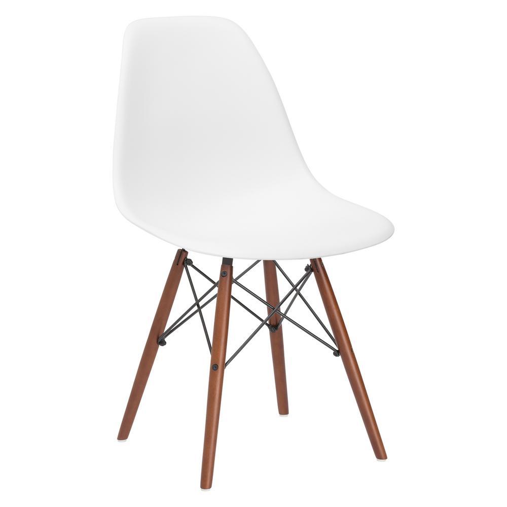 Vortex White Side Chair with Walnut Legs