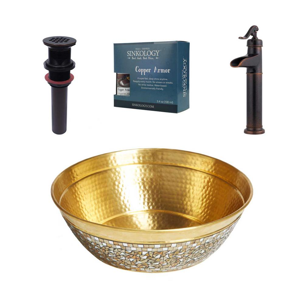 SINKOLOGY Shockley All-In-One Brass Vessel Bath Sink Design Kit with Pfister Vessel Faucet in Rustic Bronze and Drain