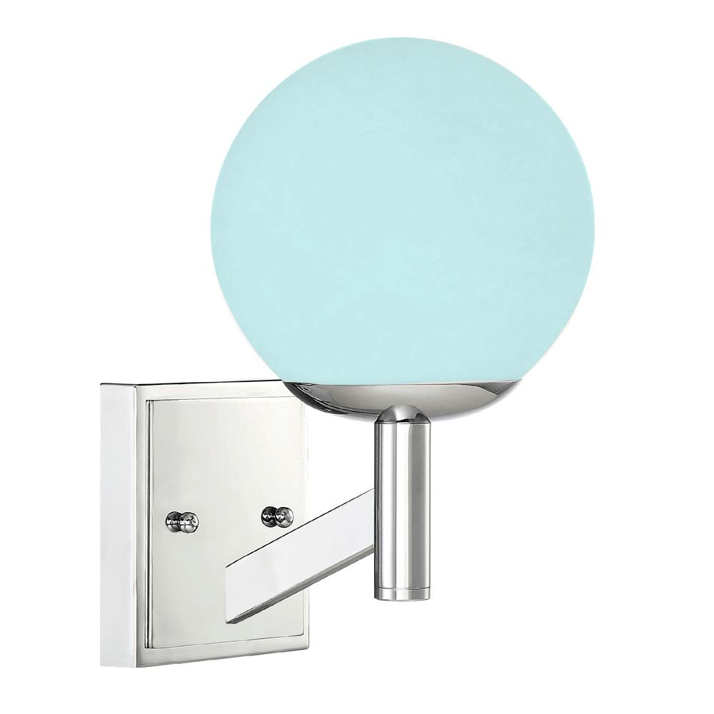 online store a907f 62372 Designers Fountain 1-Light Chrome Wall Sconce with Frosted Globe Shade and  Color Changing Smart LED Bulb Included