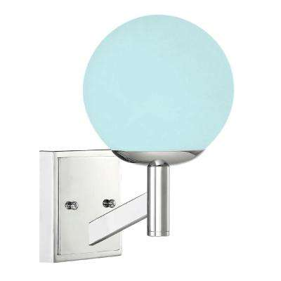 1-Light Chrome Wall Sconce with Frosted Globe Shade and Color Changing Smart LED Bulb Included
