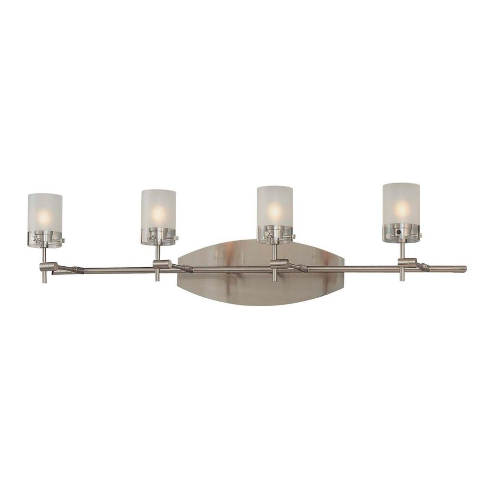 George Kovacs Shimo 4 Light Brushed Nickel Bath With Clear And