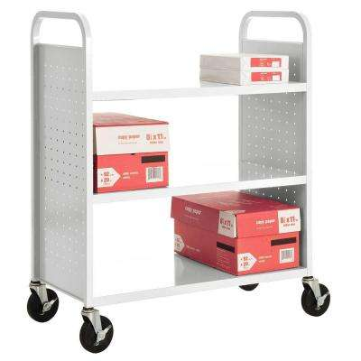 White Mobile Steel Bookcase