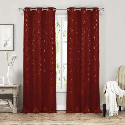 Stephanie 37 in. x 84 in. L Polyester Blackout Curtain Panel in Garnet (2-Pack)