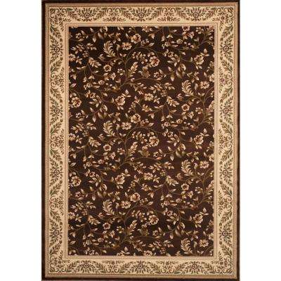 Manor House Brown/Floral 5 ft. 3 in. x 7 ft. 3 in. Area Rug